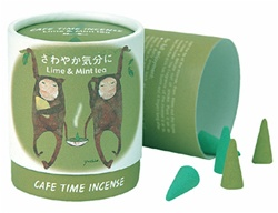 NIPPON KODO | CAFE TIME - REFRESH MOOD - CONE INCENSE - Lime & Mint tea - 10 cones