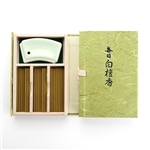 NIPPON KODO | MAINICHI BYAKUDAN - SHORT STICK INCENSE W/HOLDER - SANDALWOOD - 60 sticks