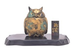 NIPPON KODO | Deco - JAPANESE INCENSE BURNER - Iron Incense burner / Owl with tray