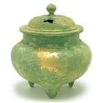 NIPPON KODO | Deco - JAPANESE INCENSE BURNER - Metal burner / Round-shaped, Green with Gold
