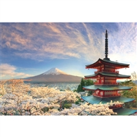 NIPPON KODO | Mt. Fuji and cherry blossoms - Japanese Art Blank Card (10 pcs.).
