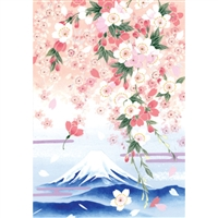 NIPPON KODO | Weeping cherry blossoms - Japanese Art Blank Card (10 pcs.).