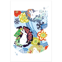 NIPPON KODO | Snow rabbit (Laser cut) - Japanese Art Blank Card (10 pcs.).