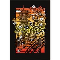 NIPPON KODO | Kyoto sunset (Laser cut) - Japanese Art Blank Card (10 pcs.).