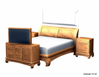 Transitional Claw TV Lift Bedroom set