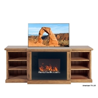 Rustic Ridgeline Fireplace TV Lift Cabinet