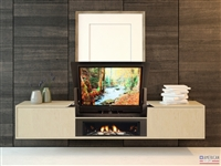 Modern Cloud Fireplace TV Flip Lift Cabinet