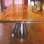 Mahogany with Teak Inlay Dining Table and Chairs