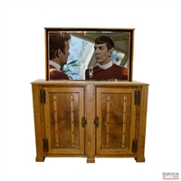 Transitional Old World TV Lift Cabinet