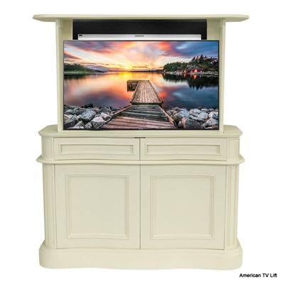 French Country Ancient Marble Bon Air TV Lift Cabinet