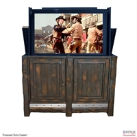 Rustic Ember Outdoor TV Lift Cabinet