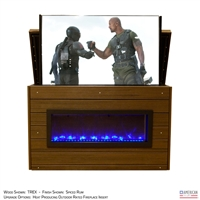 "55"" TV Lift Cabinet - Modern New York Outdoor Fireplace (SC)"