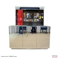 "55"" TV Lift Cabinet - Modern 3 Door Beveled Mirror (SC)"