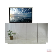 "55"" TV Lift Cabinet - Modern 4 Door Beveled Mirror (SC)"