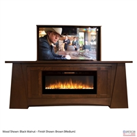"50"" TV Lift Cabinet - Modern Aspen Fireplace"
