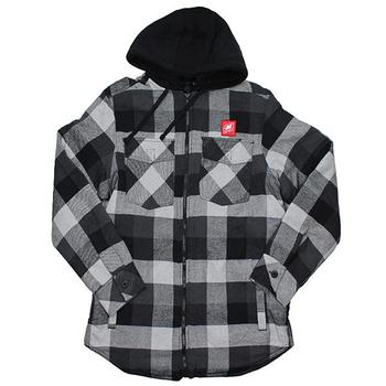 Full Zip Flannel Hoodie - Black / Grey