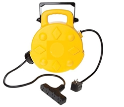 4-outlet retractable power electrical reel with indoor style receptacles, length: 40' ft, wire type: SJTW, gauge: 12/3, plug: 5-15P, 4 receptacle: 5-15R,  1875 watts, UL listed 50-ft. 12/3 SJT, 15 Amp  12 awg guage