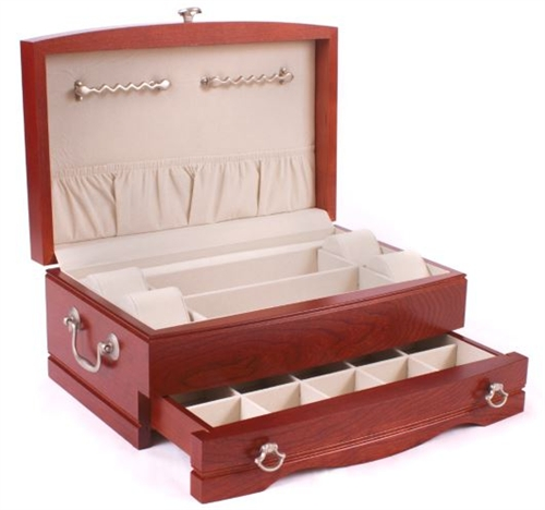 Solid wooden jewelry box cherry wood for Solid wood jewelry chest