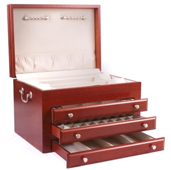 Very Large Cherry Hardwood Jewelry Chest