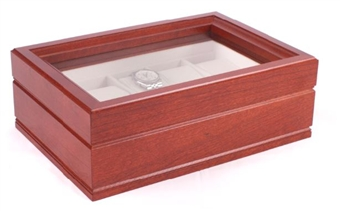 Solid Cherry Watchbox, 10 Glass Top