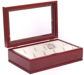 Solid Hardwood Watchbox in Mahogany, Glass Top