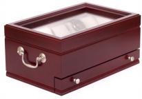 Solid Hardwood Drawered Watchbox in Mahogany, Glass Top