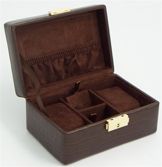 Small Brown Leather Travel Watch Box for 2 Watches and Jewelry