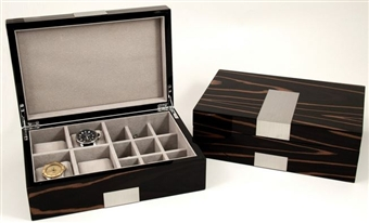 Burlwood Luxury Watch Box with Stainless Steel Accents