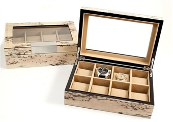 Burlwood Ivory Color Watch Box with Glass Top