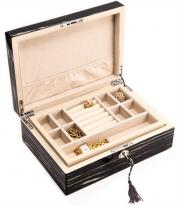 Locking Wooden Jewelry Box with Tray