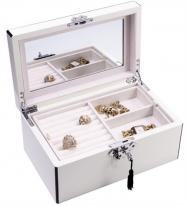 Locking Wooden Jewelry Box 3 Level