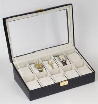 Black Leather Watch Storage Box with Slanted Glass Display Top. Holds 10 Watches.