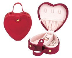 Heart Shaped Jewelry Box  Leather Travel Case