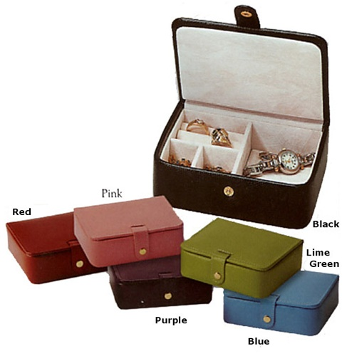 Leather Travel Jewelry Case Cufflink Ring Earring Box