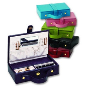 Lizard Print Leather Travel Jewery Box by Budd Leather in Black, Pink, Lime Green or Red.