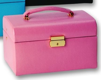 Leather Jewelry Box Train Case with Mini Travel Organizer