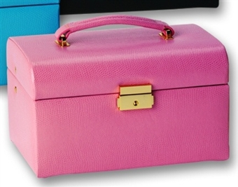 Pink Leather Jewelry Box Train Case with Mini Travel Organizer