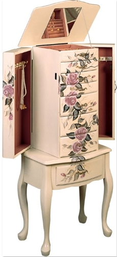 Standing Jewelry Armoire Seven Drawers Traditional Style