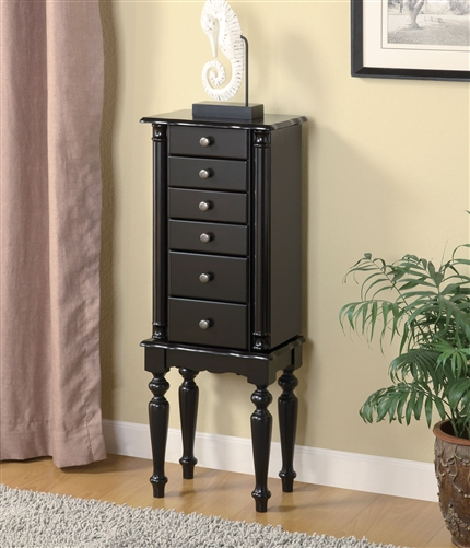 Floor Standing Classic Black Jewelry Armoire With Fluted Legs