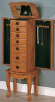 jewelry armoire six drawers oak