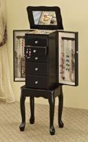 five drawer standing jewelry armoire