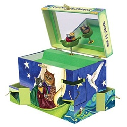 Owl and the Pussycat Music Box  Musical Childs Baby Gift  Enchantmints B3008-D