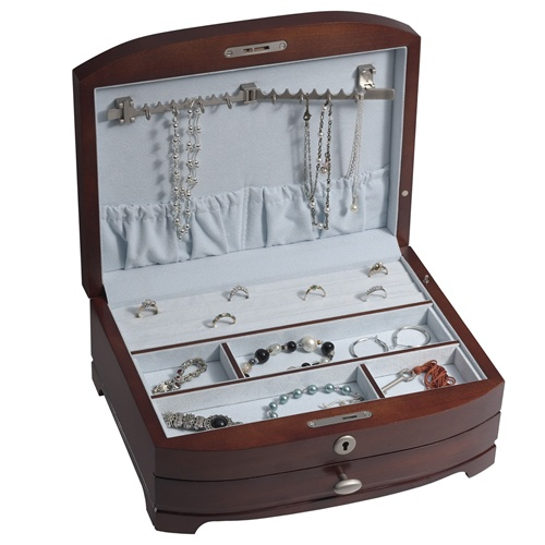 Wooden Jewelry Box with Locked Earring Drawer