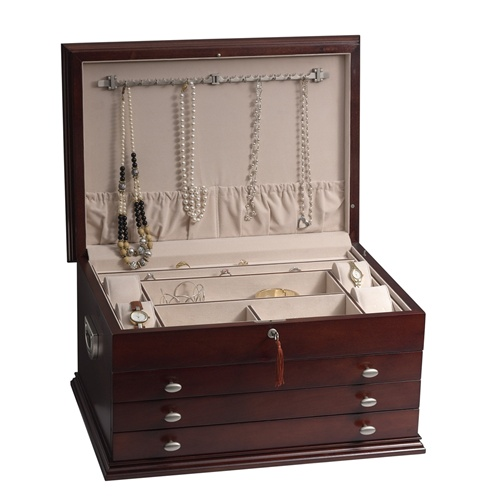 Solid Wood Jewelry Box Chest that Completely Locks Antique Style