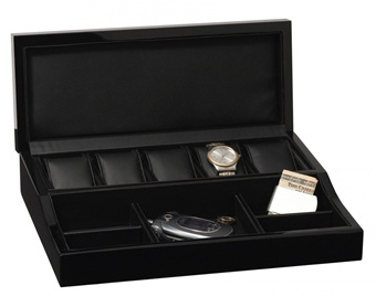 Men's Modern Ebony Valet Box with Jewelry and Watch Storage