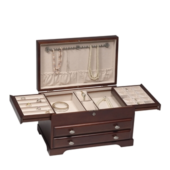 Beautiful Solid Wood Jewelry Box. Satin Mahogany Locked Jewelry Chest.