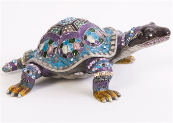 Amazing Azure Turtle Crystal Trinket Box