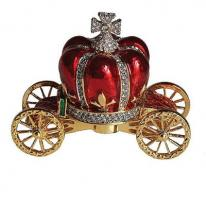 Her Majesty Red Crown Carriage Crystal Trinket Box. 24k gold