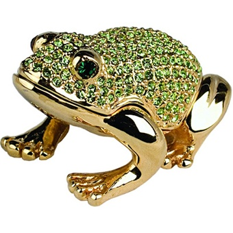 Dazzling Green Frog Crystal Trinket Box. 24k gold