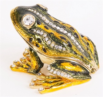 Flashy Frog Trinket Box. Hand Enameled with 24k gold Details.
